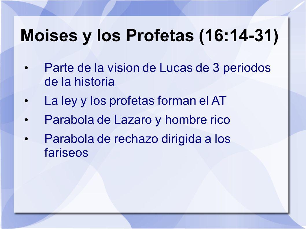 Moises y los Profetas (16:14-31) Parte de la vision de Lucas de 3 periodos de la historia La ley y los profetas forman el AT Parabola de Lazaro y homb