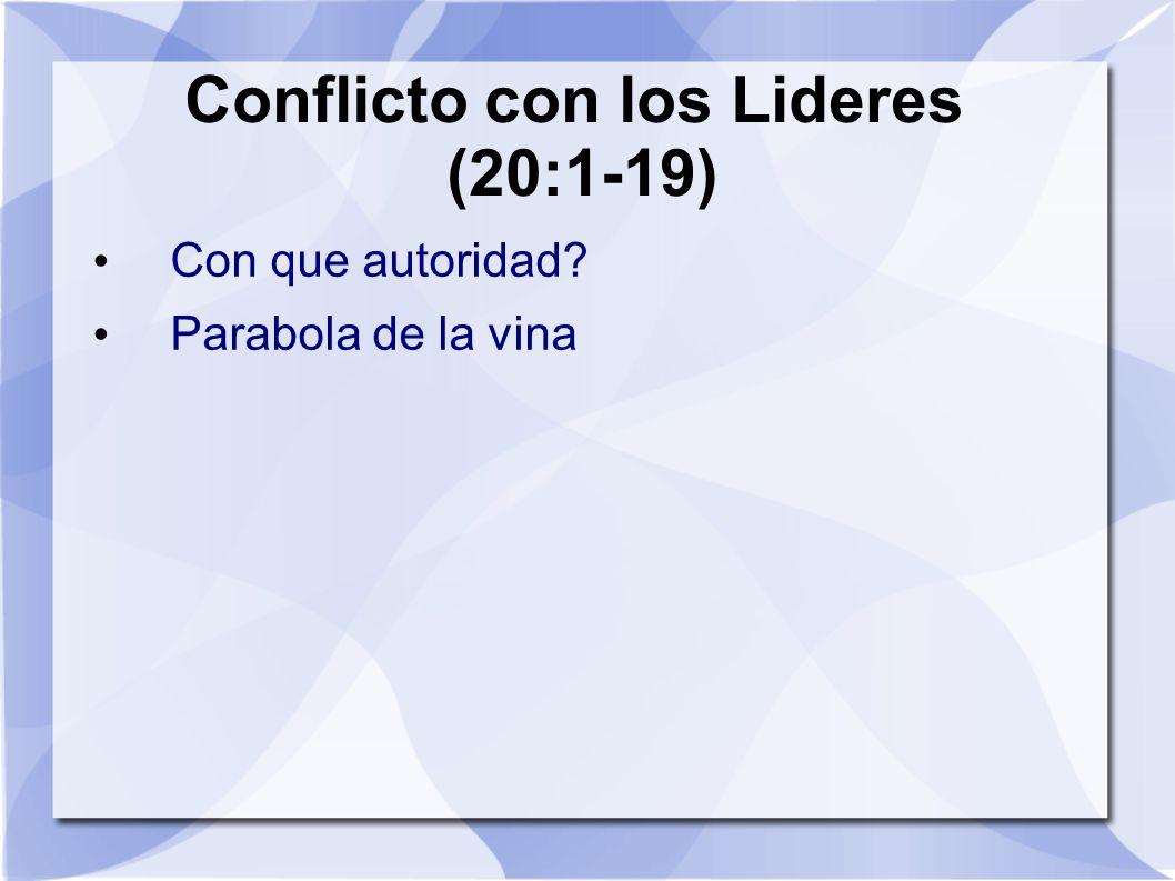 Conflicto con los Lideres (20:1-19) Con que autoridad? Parabola de la vina