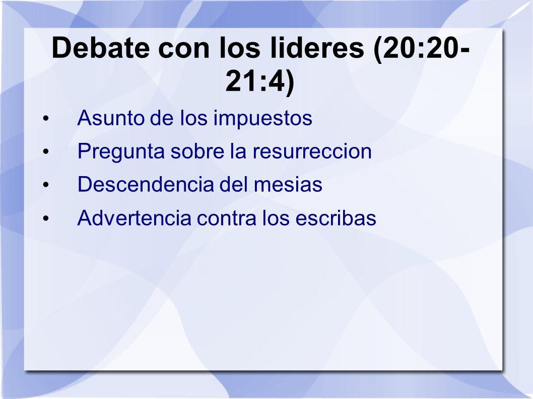 Debate con los lideres (20:20- 21:4) Asunto de los impuestos Pregunta sobre la resurreccion Descendencia del mesias Advertencia contra los escribas
