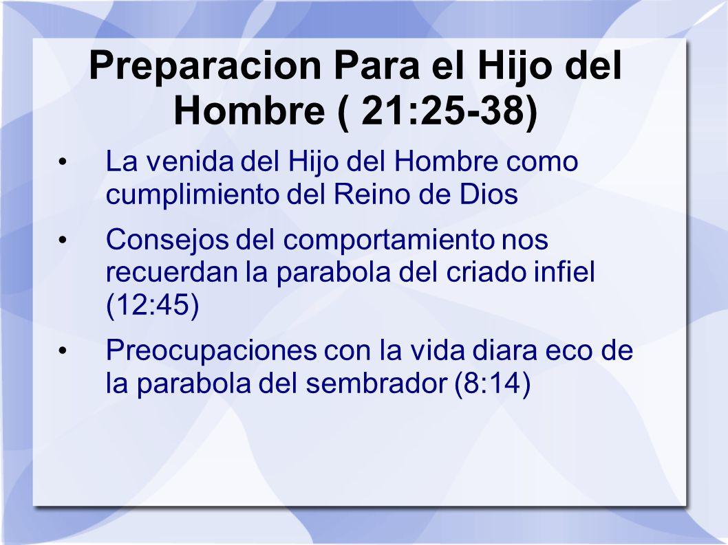 Preparacion Para el Hijo del Hombre ( 21:25-38) La venida del Hijo del Hombre como cumplimiento del Reino de Dios Consejos del comportamiento nos recu