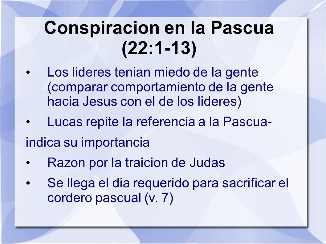 Conspiracion en la Pascua (22:1-13) Los lideres tenian miedo de la gente (comparar comportamiento de la gente hacia Jesus con el de los lideres) Lucas