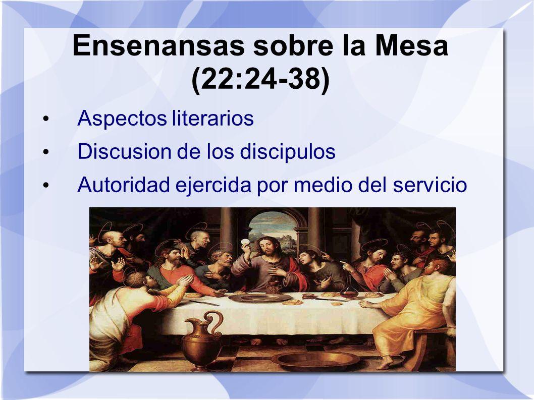 Ensenansas sobre la Mesa (22:24-38) Aspectos literarios Discusion de los discipulos Autoridad ejercida por medio del servicio