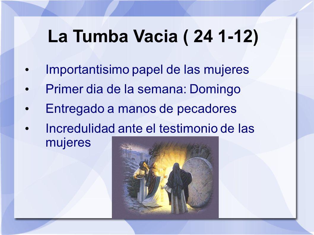 La Tumba Vacia ( 24 1-12) Importantisimo papel de las mujeres Primer dia de la semana: Domingo Entregado a manos de pecadores Incredulidad ante el tes