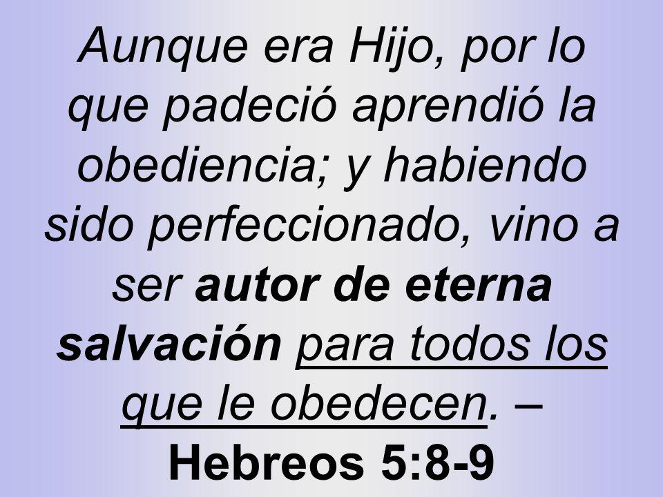Aunque era Hijo, por lo que padeció aprendió la obediencia; y habiendo sido perfeccionado, vino a ser autor de eterna salvación para todos los que le
