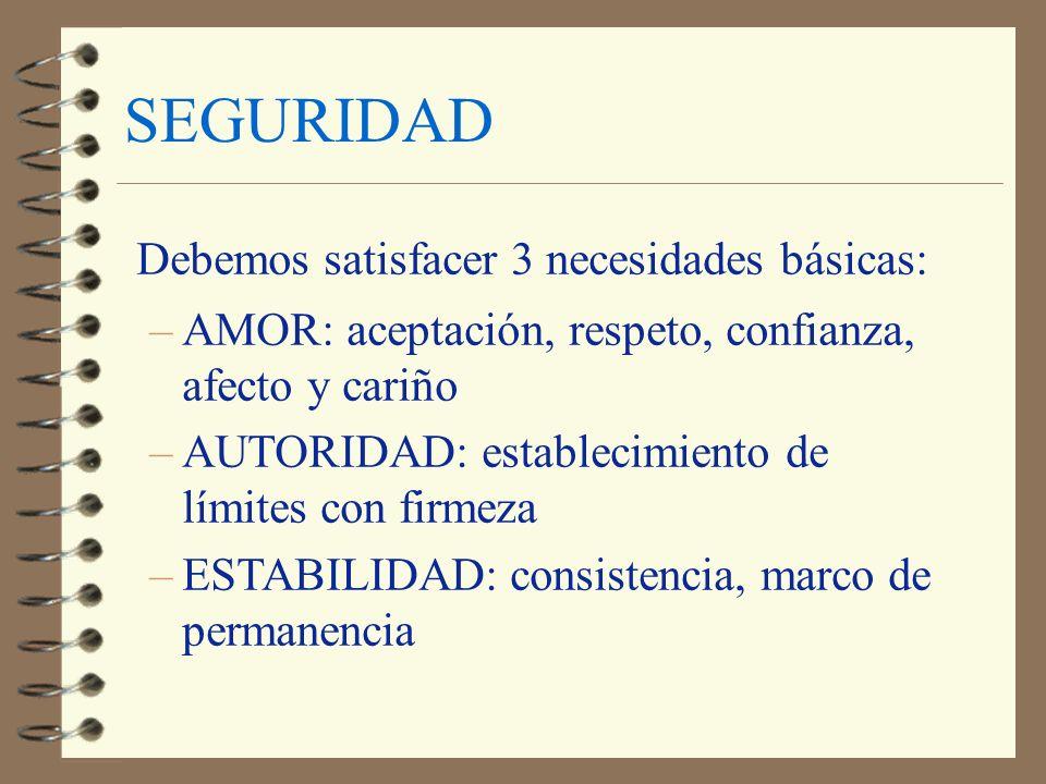 SEGURIDAD Debemos satisfacer 3 necesidades básicas: –AMOR: aceptación, respeto, confianza, afecto y cariño –AUTORIDAD: establecimiento de límites con
