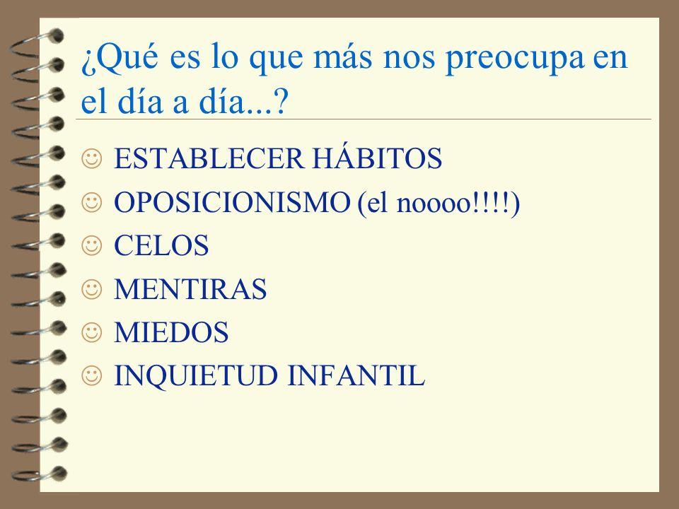 ¿Qué es lo que más nos preocupa en el día a día...? J ESTABLECER HÁBITOS J OPOSICIONISMO (el noooo!!!!) J CELOS J MENTIRAS J MIEDOS J INQUIETUD INFANT