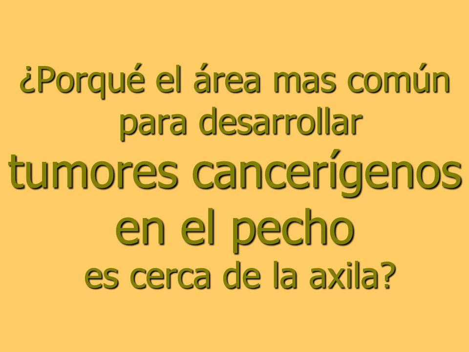 ¿Porqué el área mas común para desarrollar tumores cancerígenos en el pecho es cerca de la axila?