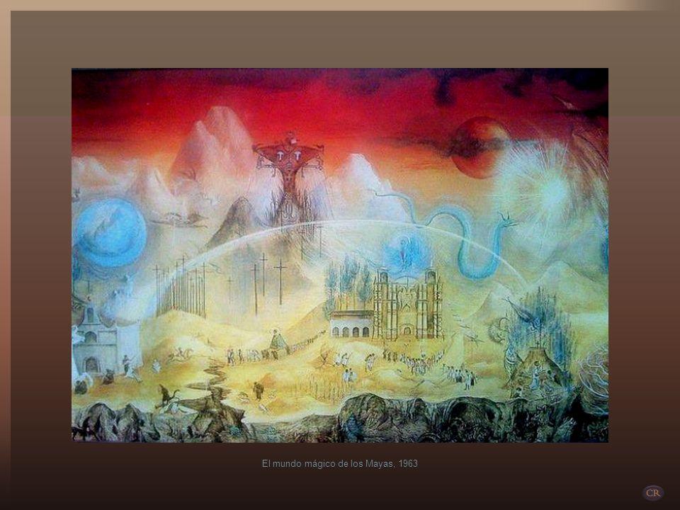 Lo mexicano se plasmó con gran fuerza en la creación de Leonora, como en una de sus obras maestras, el mural El mundo mágico de los mayas que pintó en