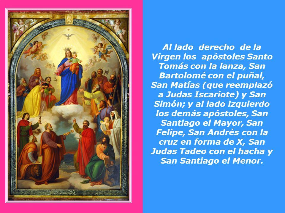 En el centro está la Virgen María y en sus brazos el niño Jesús con los brazos abiertos. Alrededor de la Madre de Dios están los doce apóstoles y los