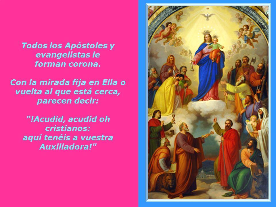 Al lado derecho de la Virgen los apóstoles Santo Tomás con la lanza, San Bartolomé con el puñal, San Matías (que reemplazó a Judas Iscariote) y San Si