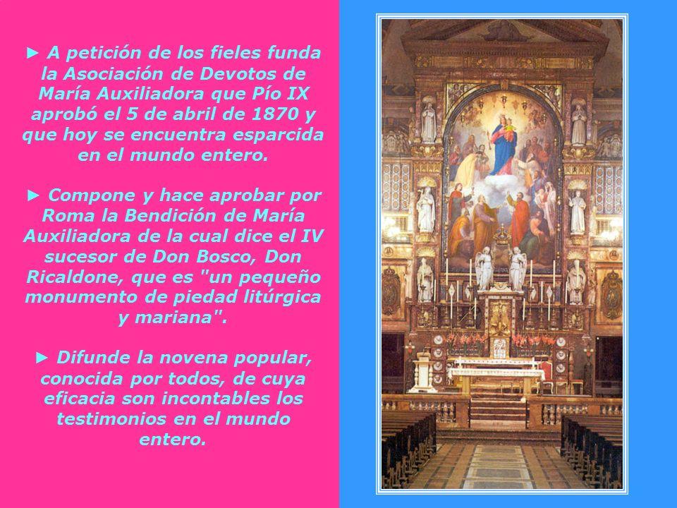 Además del Santuario de Turín, Don Bosco: Escribe y divulga seis libritos en los que ilustra el título de Auxiliadora convirtiéndose así en el teólogo