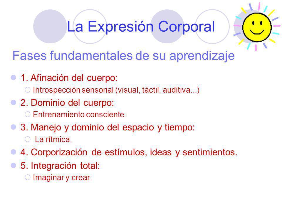 La Expresión Corporal Fases fundamentales de su aprendizaje 1. Afinación del cuerpo: Introspección sensorial (visual, táctil, auditiva...) 2. Dominio
