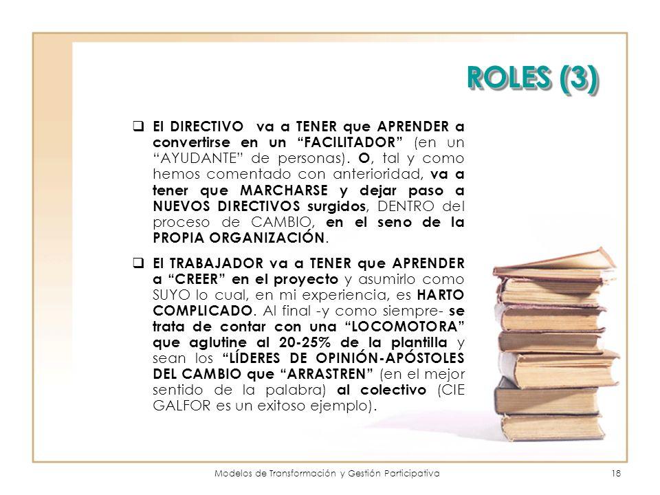 Modelos de Transformación y Gestión Participativa18 ROLES (3) El DIRECTIVO va a TENER que APRENDER a convertirse en un FACILITADOR (en un AYUDANTE de personas).