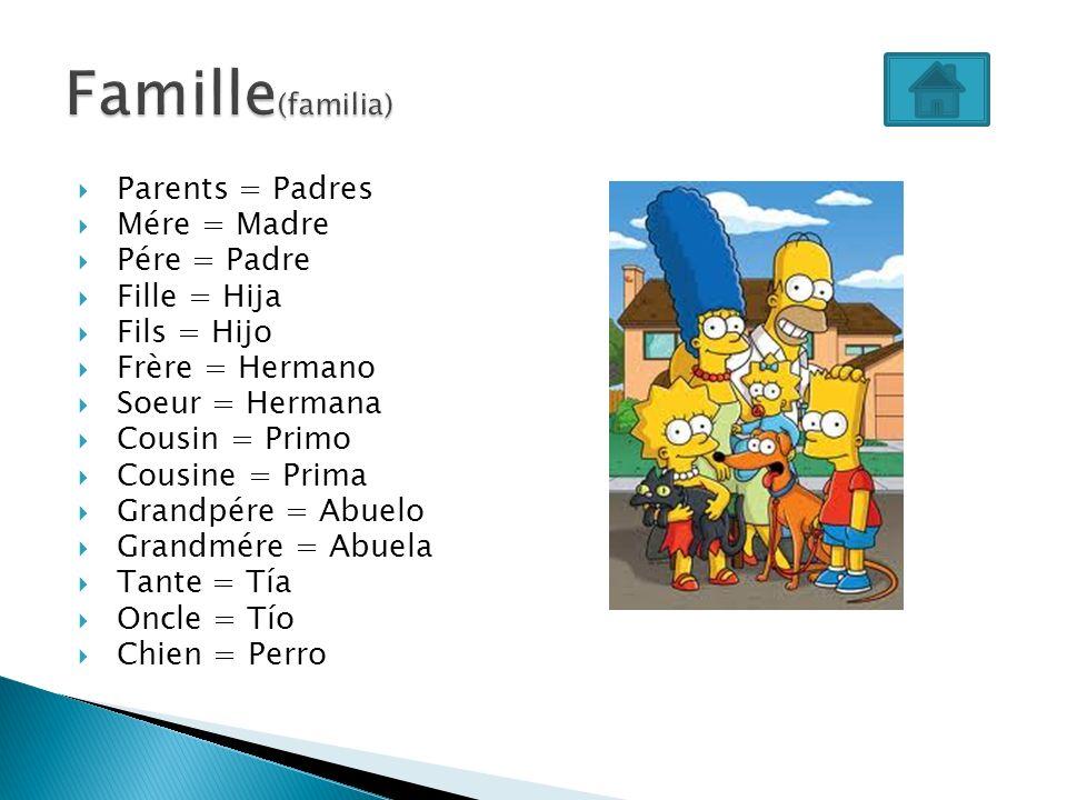 Parents = Padres Mére = Madre Pére = Padre Fille = Hija Fils = Hijo Frère = Hermano Soeur = Hermana Cousin = Primo Cousine = Prima Grandpére = Abuelo