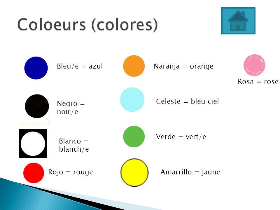 Bleu/e = azul Negro = noir/e Blanco = blanch/e Naranja = orange Celeste = bleu ciel Verde = vert/e Amarrillo = jauneRojo = rouge Rosa = rose