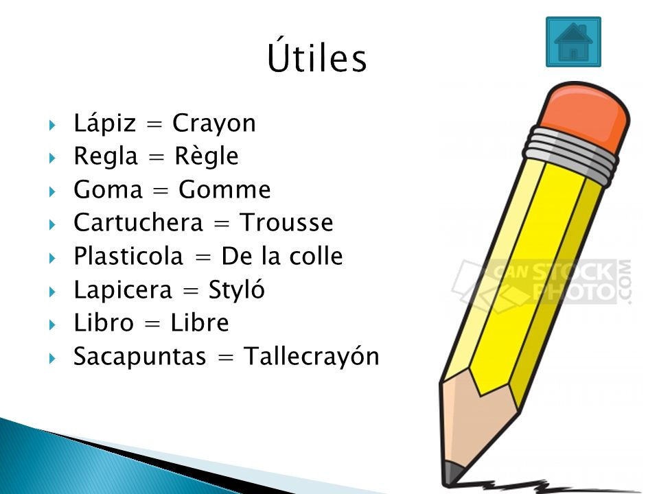 Lápiz = Crayon Regla = Règle Goma = Gomme Cartuchera = Trousse Plasticola = De la colle Lapicera = Styló Libro = Libre Sacapuntas = Tallecrayón