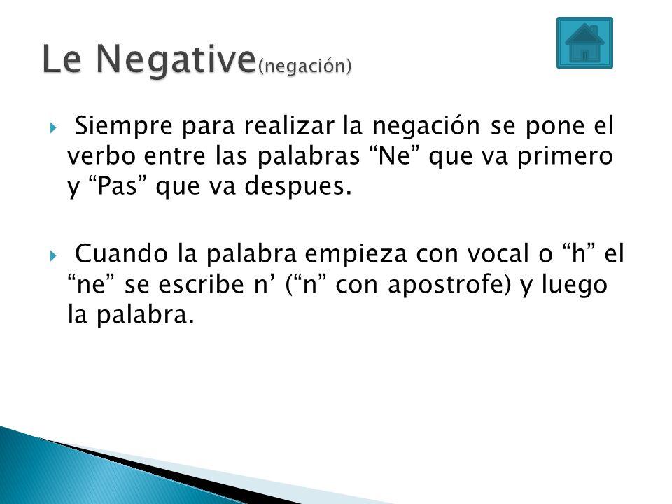 Siempre para realizar la negación se pone el verbo entre las palabras Ne que va primero y Pas que va despues. Cuando la palabra empieza con vocal o h