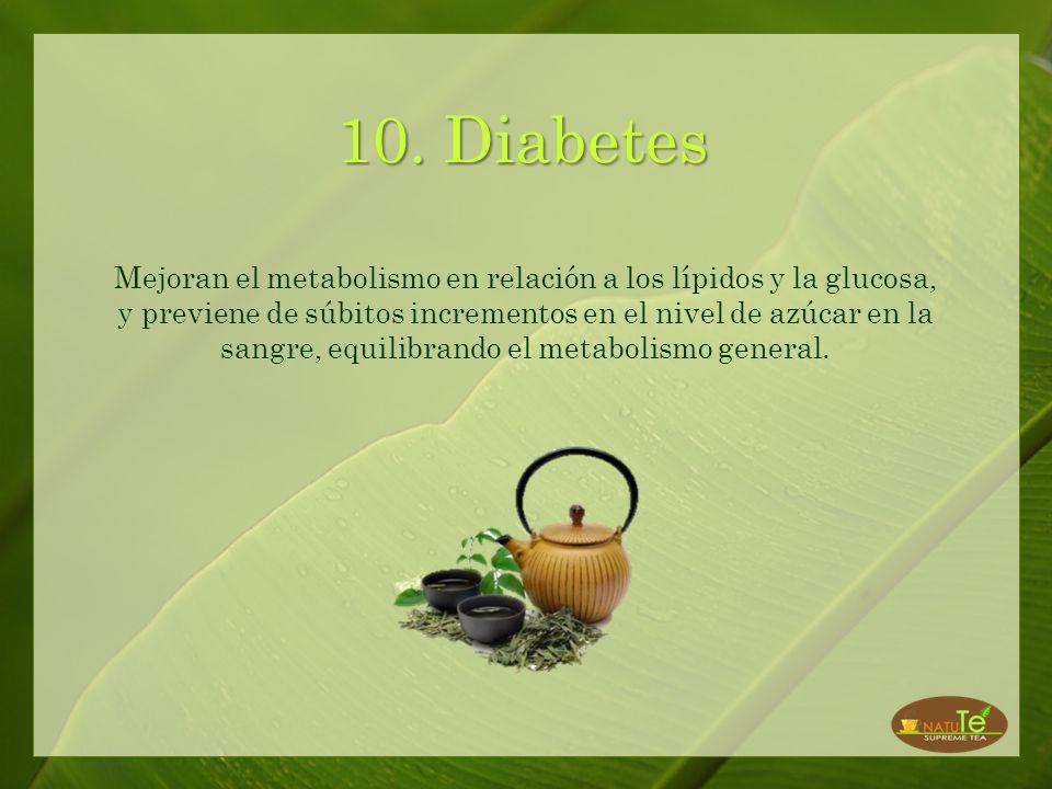9. Obesidad Ayudan a prevenir la obesidad al detener el movimento de la glucosa en las células grasas. Quien siga una dieta sana y balanceada, haga ej