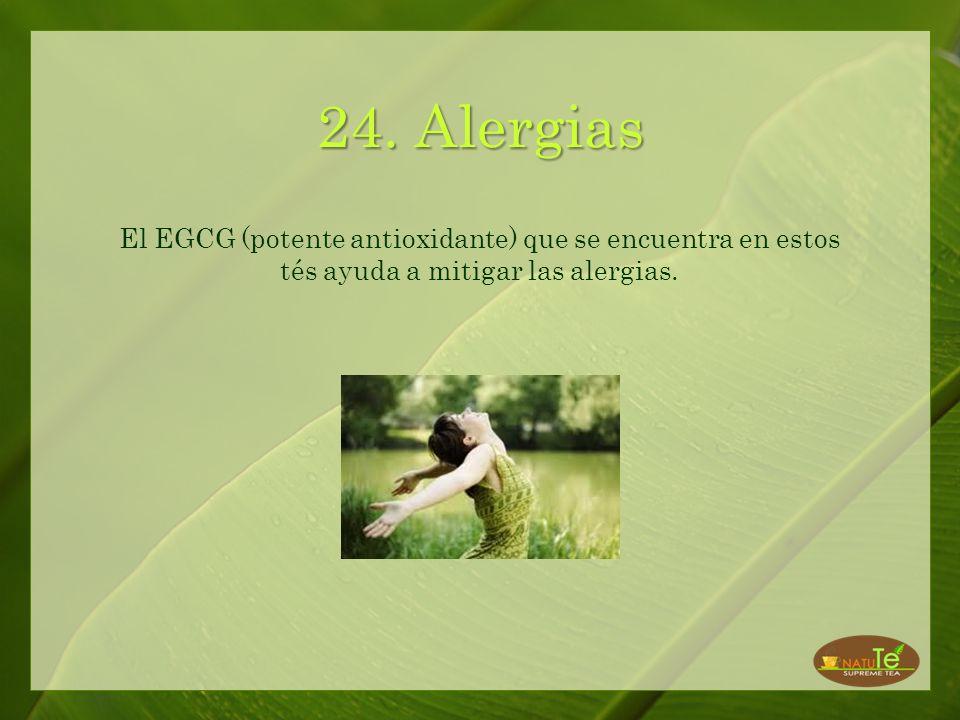 23. Stress La L-teanina, que es un tipo de amino ácido que se encuentra en el té blanco y verde, ayuda a reducir el stress y la ansiedad.