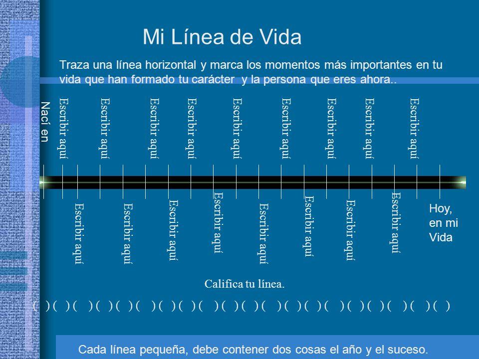 Mi Línea de Vida Hoy, en mi Vida Traza una línea horizontal y marca los momentos más importantes en tu vida que han formado tu carácter y la persona q