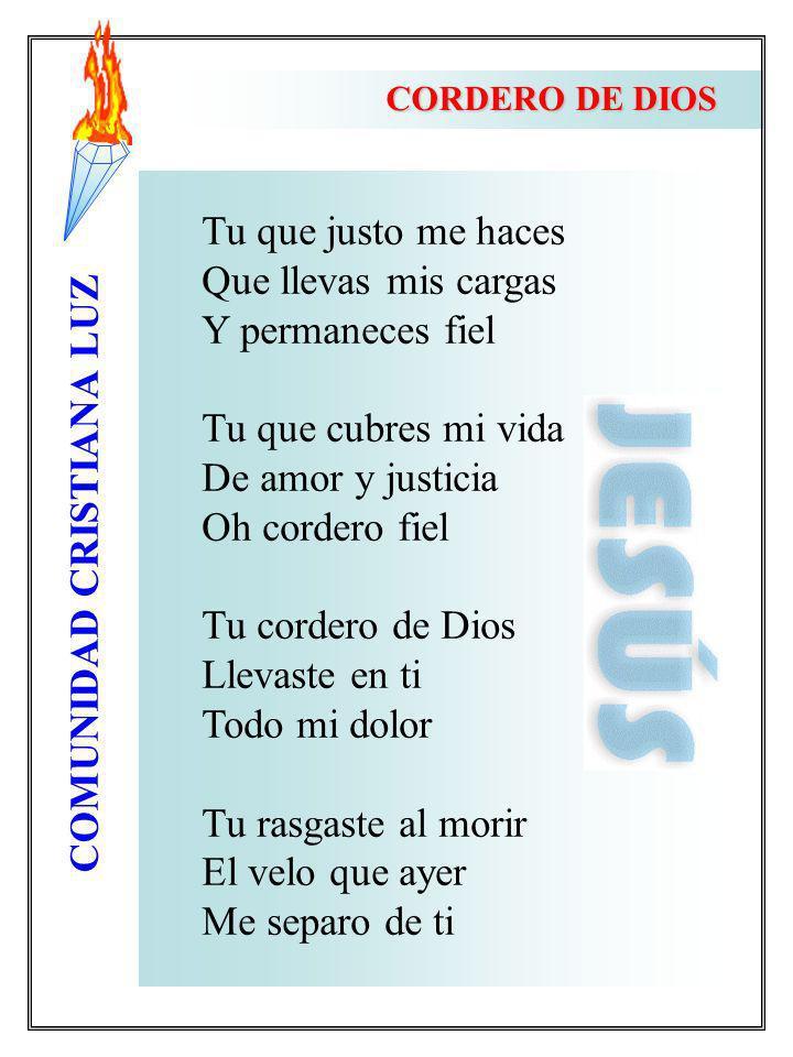 COMUNIDAD CRISTIANA LUZ Tu que justo me haces Que llevas mis cargas Y permaneces fiel Tu que cubres mi vida De amor y justicia Oh cordero fiel Tu cord