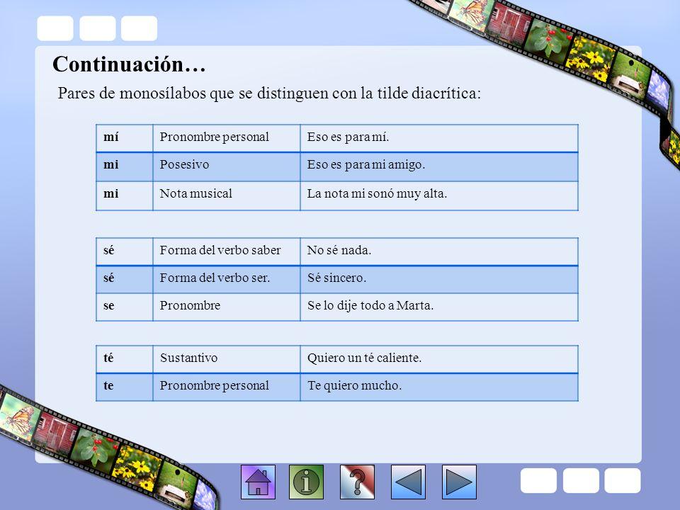 Lección 3.2 Pares de monosílabos con tilde diacrítica Éstos son los pares de monosílabos que se distinguen con la tilde diacrítica: déForma del verbo