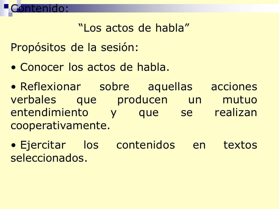 Contenido: Los actos de habla Propósitos de la sesión: Conocer los actos de habla. Reflexionar sobre aquellas acciones verbales que producen un mutuo