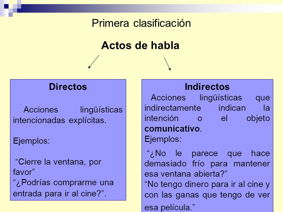 Primera clasificación Actos de habla Directos Acciones lingüísticas intencionadas explícitas. Ejemplos: Cierre la ventana, por favor ¿Podrías comprarm