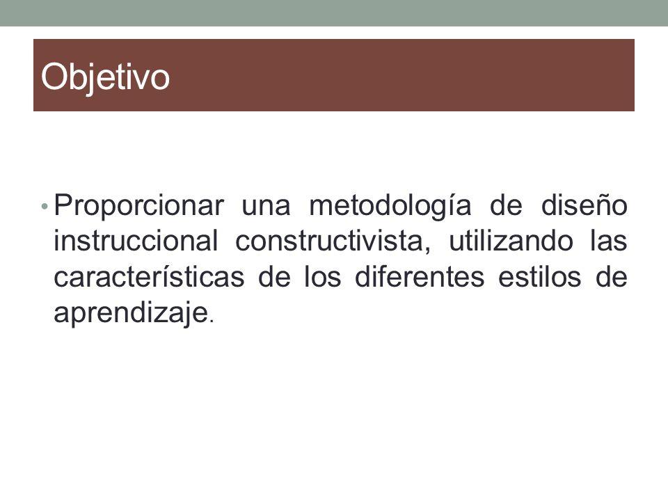 Objetivo Proporcionar una metodología de diseño instruccional constructivista, utilizando las características de los diferentes estilos de aprendizaje.