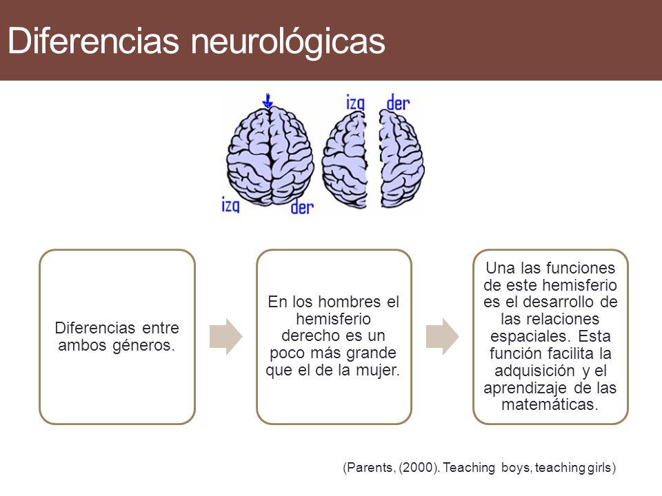 Diferencias neurológicas Neurológicamente poseemos diferencias entre ambos géneros. En la mujer trabajan simultáneamente ambos hemisferios (izquierdo