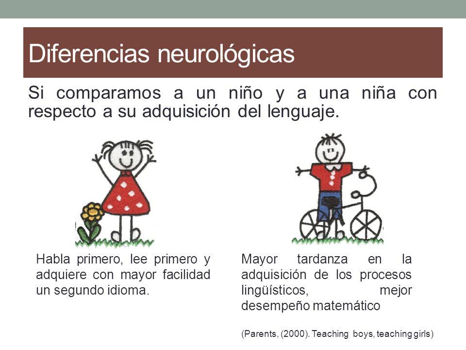 Diferencias neurológicas Diferencias entre ambos géneros. En los hombres el hemisferio derecho es un poco más grande que el de la mujer. Una las funci