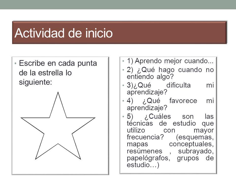 Actividad de inicio Escribe en cada punta de la estrella lo siguiente: 1) Aprendo mejor cuando...