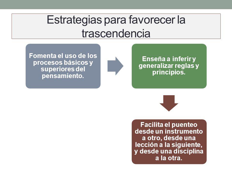 Estrategias para favorecer la trascendencia Relaciona los contenidos del tema con los hechos pasados y futuros. Relaciona los contenidos con los objet