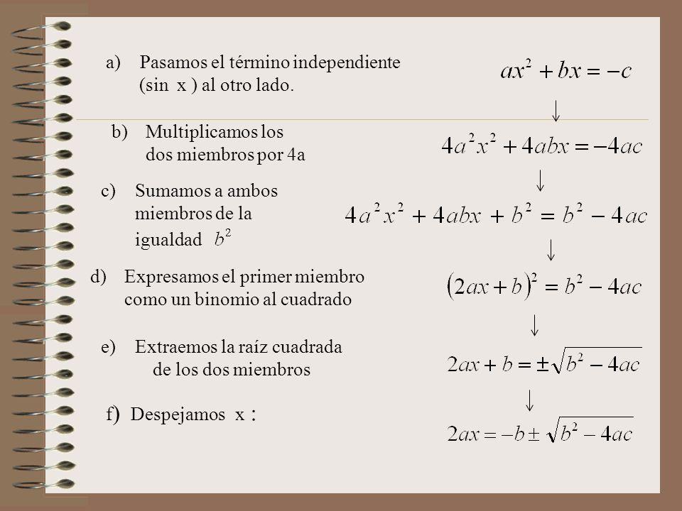 a)Pasamos el término independiente (sin x ) al otro lado. b)Multiplicamos los dos miembros por 4a c)Sumamos a ambos miembros de la igualdad d)Expresam