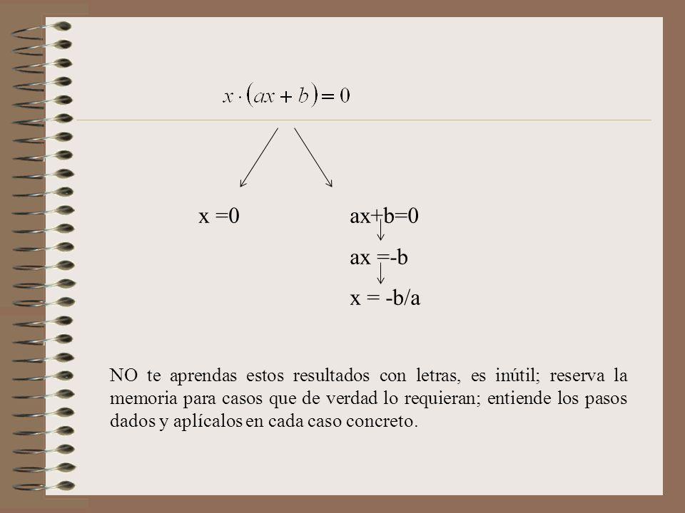 x =0 ax+b=0 ax =-b x = -b/a NO te aprendas estos resultados con letras, es inútil; reserva la memoria para casos que de verdad lo requieran; entiende