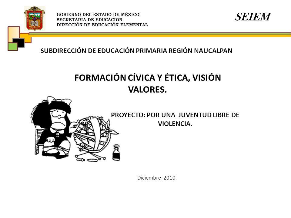 GOBIERNO DEL ESTADO DE MÉXICO SECRETARIA DE EDUCACION DIRECCIÓN DE EDUCACIÓN ELEMENTAL SEIEM SUBDIRECCIÓN DE EDUCACIÓN PRIMARIA REGIÓN NAUCALPAN PROYE