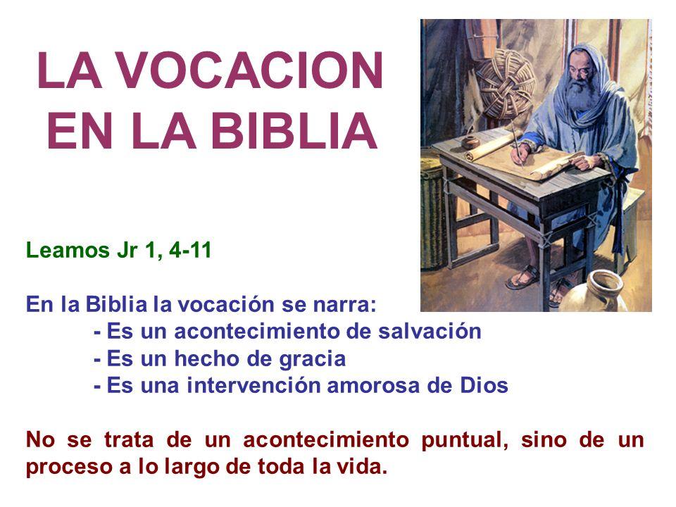 LA VOCACION EN LA BIBLIA Leamos Jr 1, 4-11 En la Biblia la vocación se narra: - Es un acontecimiento de salvación - Es un hecho de gracia - Es una int