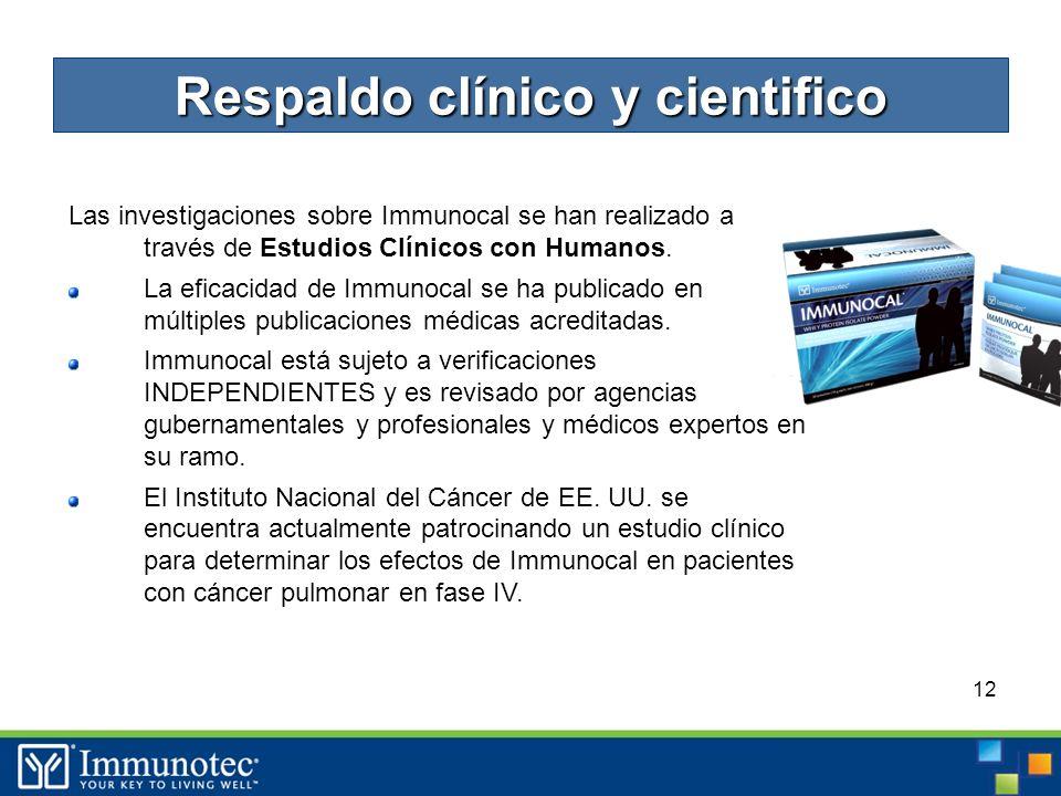 12 Las investigaciones sobre Immunocal se han realizado a través de Estudios Clínicos con Humanos.