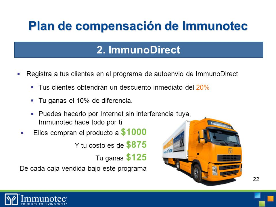 22 Plan de compensación de Immunotec Registra a tus clientes en el programa de autoenvio de ImmunoDirect Tus clientes obtendrán un descuento inmediato del 20% Tu ganas el 10% de diferencia.