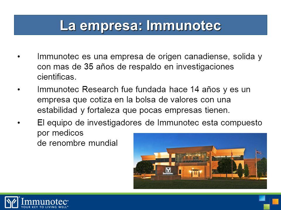 3 Immunotec es una empresa de origen canadiense, solida y con mas de 35 años de respaldo en investigaciones cientificas.