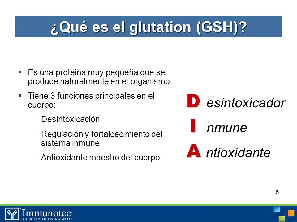5 Es una proteina muy pequeña que se produce naturalmente en el organismo Tiene 3 funciones principales en el cuerpo: – Desintoxicación – Regulacion y fortalcecimiento del sistema inmune – Antioxidante maestro del cuerpo A A ntioxidante D D esintoxicador I I nmune ¿Qué es el glutation (GSH)