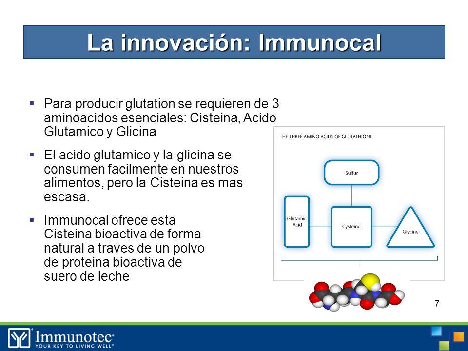 7 Para producir glutation se requieren de 3 aminoacidos esenciales: Cisteina, Acido Glutamico y Glicina El acido glutamico y la glicina se consumen facilmente en nuestros alimentos, pero la Cisteina es mas escasa.