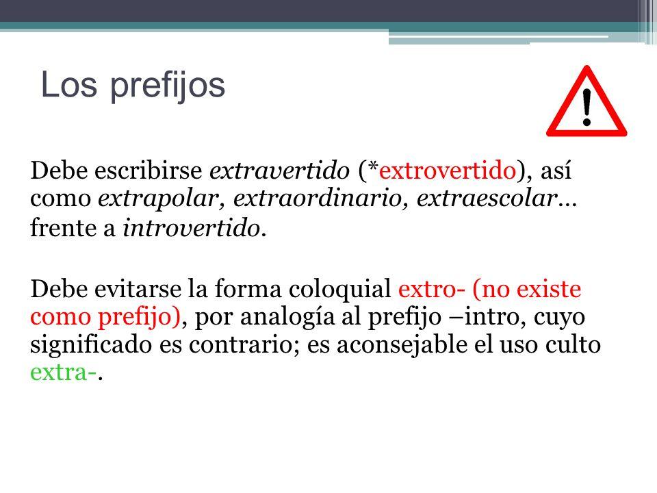 Los prefijos Debe escribirse extravertido (*extrovertido), así como extrapolar, extraordinario, extraescolar… frente a introvertido.