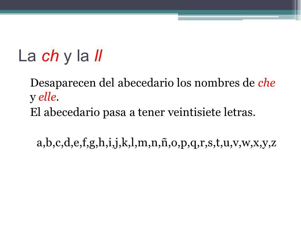 La ch y la ll Desaparecen del abecedario los nombres de che y elle.