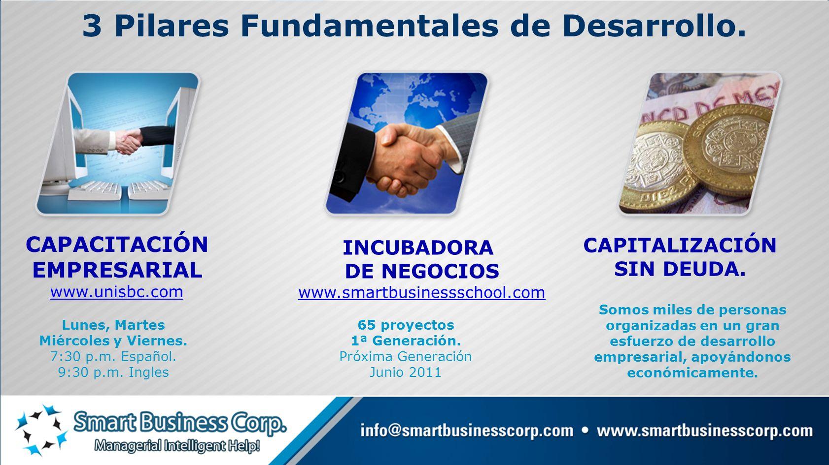 CAPITALIZACIÓN SIN DEUDA. 3 Pilares Fundamentales de Desarrollo. CAPACITACIÓN EMPRESARIAL www.unisbc.com INCUBADORA DE NEGOCIOS www.smartbusinessschoo