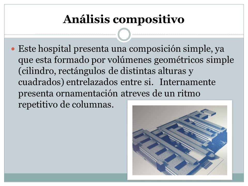 Análisis compositivo Este hospital presenta una composición simple, ya que esta formado por volúmenes geométricos simple (cilindro, rectángulos de dis