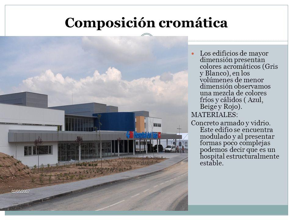 Composición cromática Los edificios de mayor dimensión presentan colores acromáticos (Gris y Blanco), en los volúmenes de menor dimensión observamos u