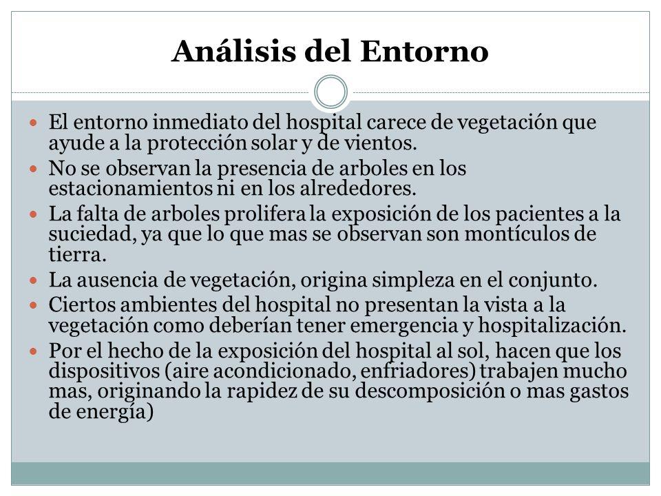 Análisis del Entorno El entorno inmediato del hospital carece de vegetación que ayude a la protección solar y de vientos. No se observan la presencia