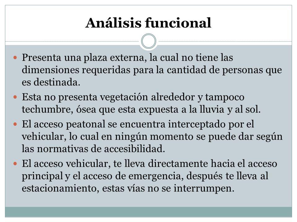 Análisis funcional Presenta una plaza externa, la cual no tiene las dimensiones requeridas para la cantidad de personas que es destinada. Esta no pres