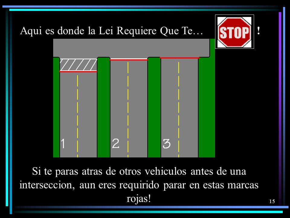 14 El Derecho de Via En las Intersecciones Hay momentos en que un conductor debe ceder el derecho de vía. El conocimiento de quién tiene el derecho de